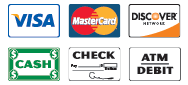 We Accept Visa, Mastercard, Discover, Cash, Checks, and Debit Cards